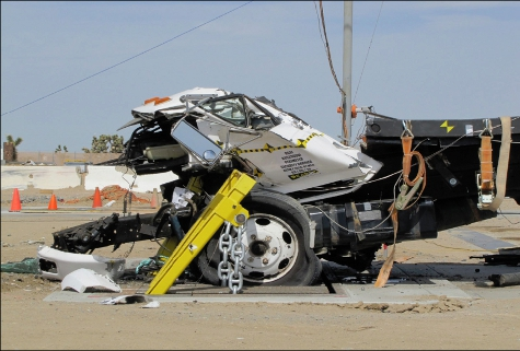 Electric vehicle Wedge Barrier - crash test