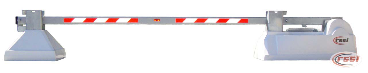 The RSSI Electric Drop Arm vehicle Barrier is available in 12' to 24'